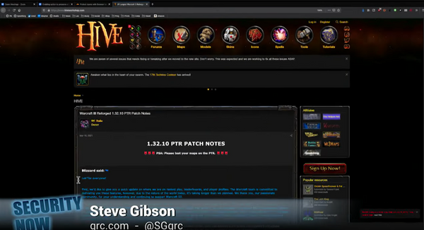 Steve Gibson mentioned Hive 3